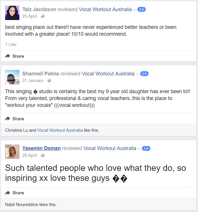 singing classes sydney testimonials